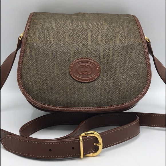 Gucci Handbags - Authentic Gucci Brown Leather & Canvas Crossbody❤️